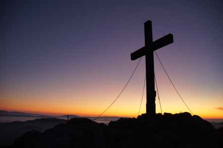 cross dawn dusk landscape